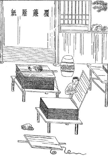 Ilustracja przedstawia pomieszczenie zdwoma dużymi stołami na których leżą ułożone na stosach płaskie kawałki drewna. Przy jednym znich stoi mężczyzna iukłada kolejne. Widać wrogu stojącą beczkę ichińskie napisy na ścianie.