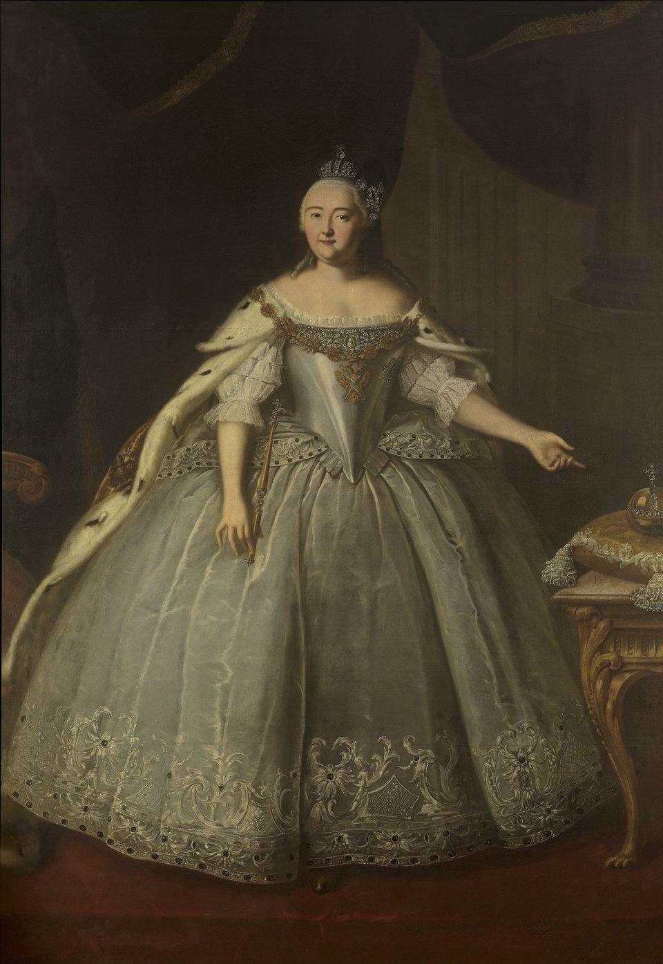 Portret carycy Elżbiety z1743r. Portret carycy Elżbiety z1743r. Źródło: Ivan Vishnyakov, 1743, olej na płótnie, Tretyakov Gallery, Moscow, domena publiczna.