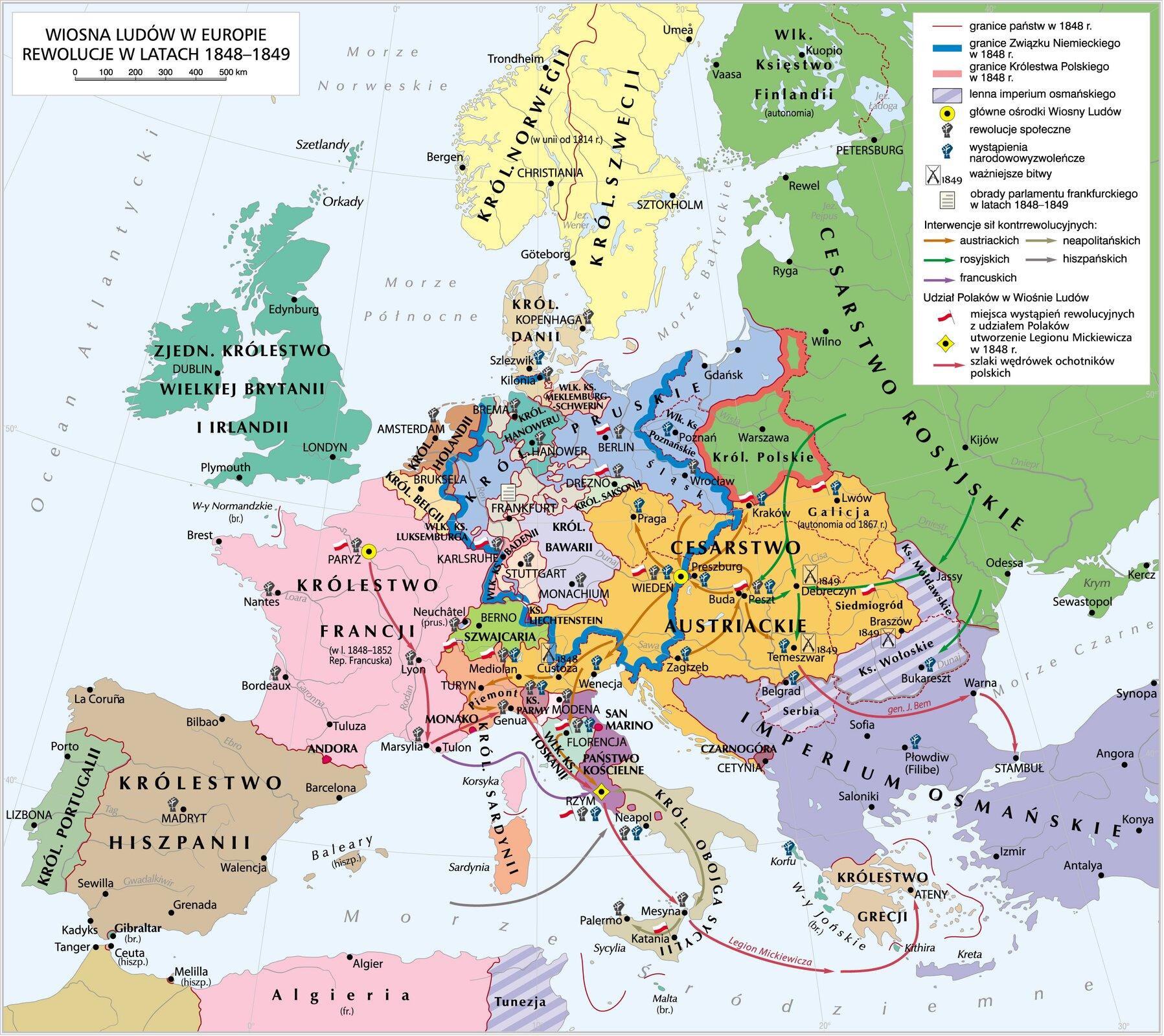 Wiosna Ludów wEuropie. Rewolucje 1848-1849 Źródło: Krystian Chariza izespół, Wiosna Ludów wEuropie. Rewolucje 1848-1849, licencja: CC BY-SA 3.0.