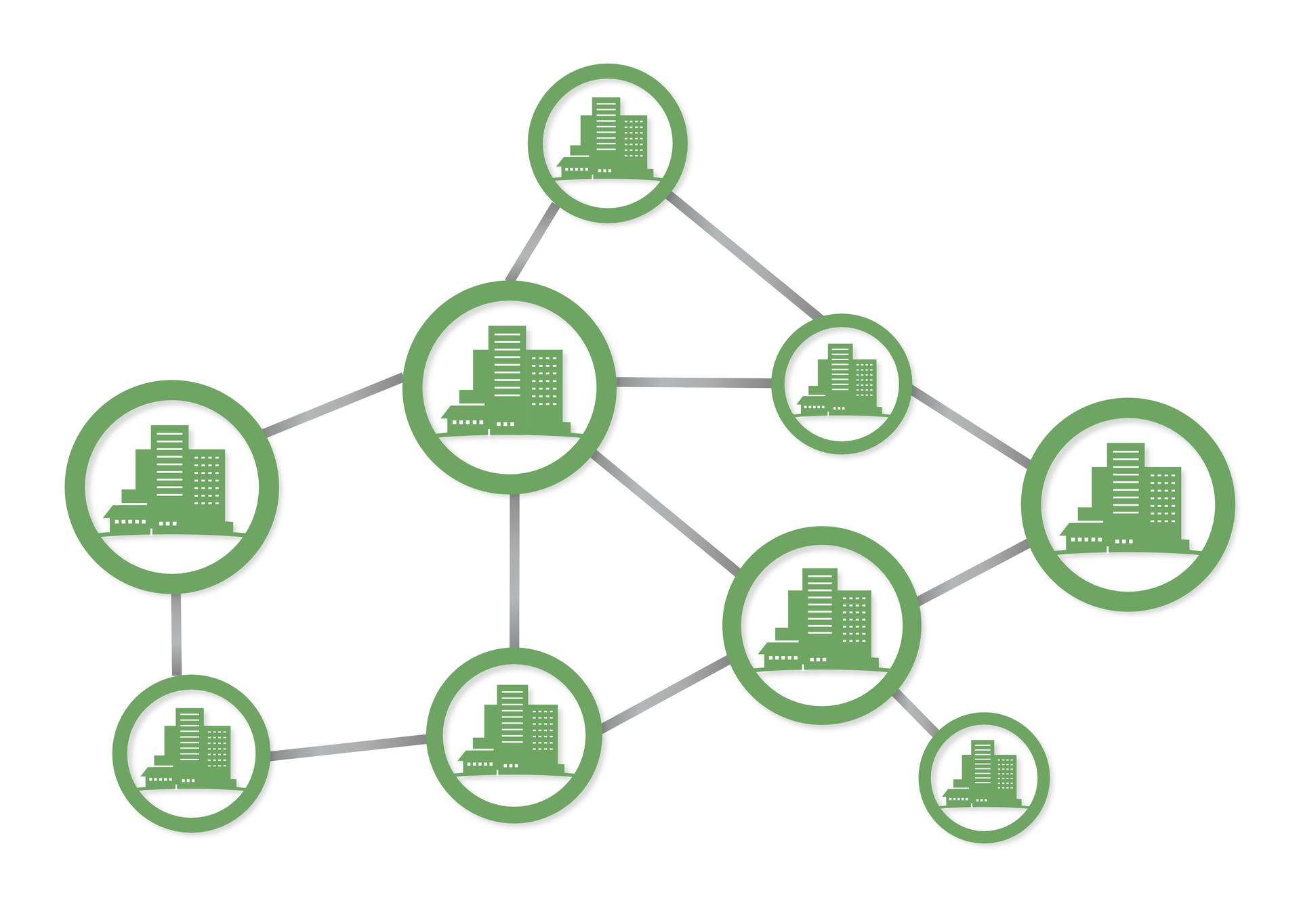Na ilustracji schemat aglomeracji. Kilka piktogramów oznaczających miasta połączonych jest liniami. Wszystkie piktogramy są zbliżonej wielkości. Połączone są prawie każdy zkażdym.