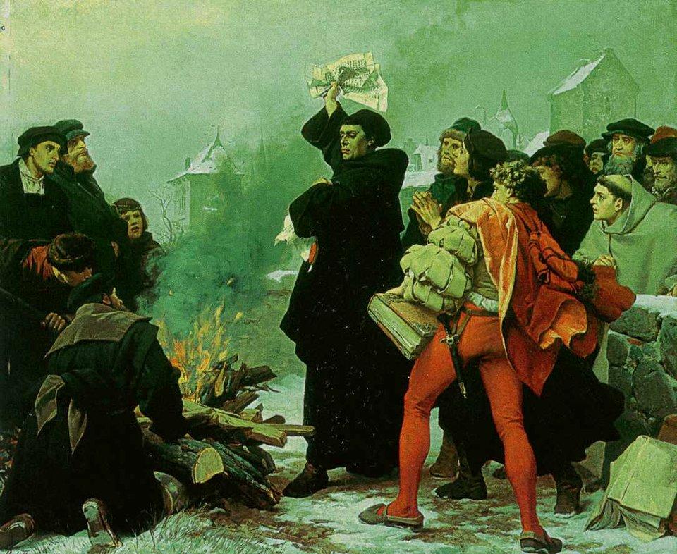 """Spalenie bulli """"Exsurge Domine"""" XII 1520 Źródło: Spalenie bulli """"Exsurge Domine"""" XII 1520, 1872/73, domena publiczna."""