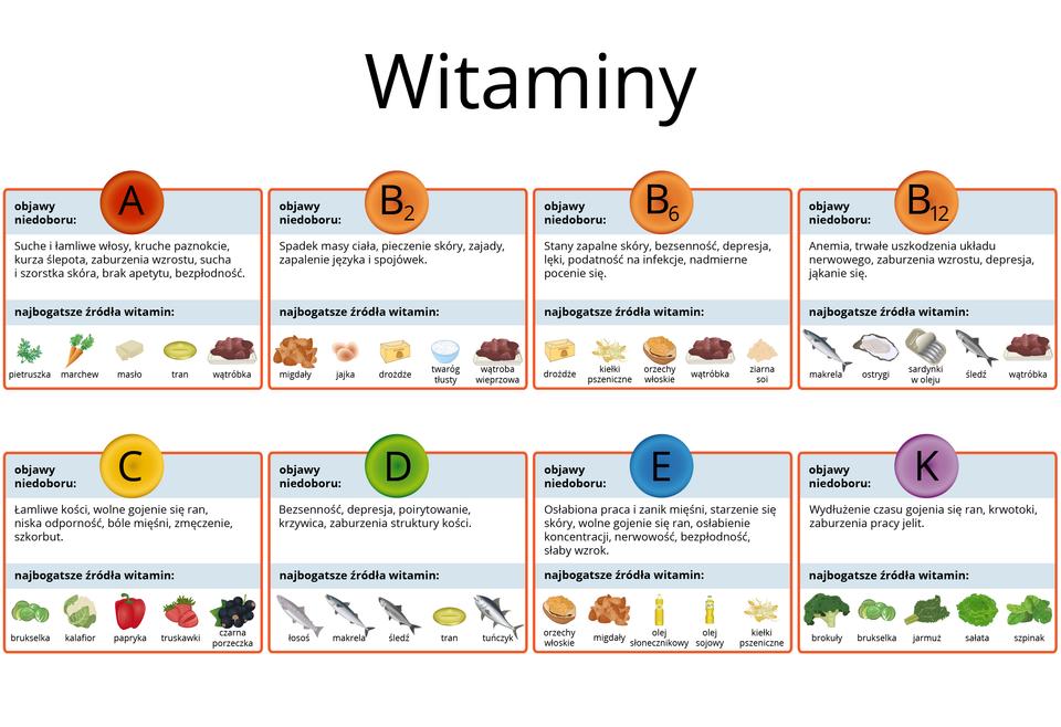 Schemat przedstawiający tabelę witamin, wktórej zestawione są skutki niedoboru tych substancji iich żródła