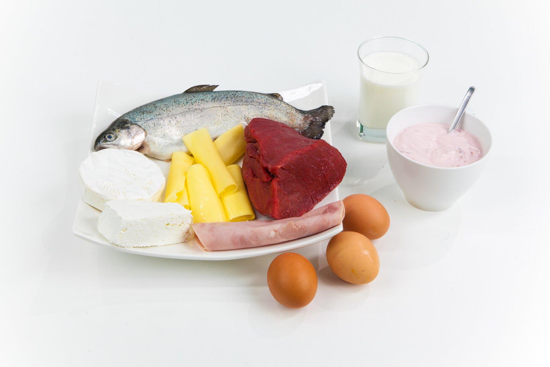 Fotografia przedstawiająca produkty spożywcze bogate wbiałka: ryba, ser biały, żółty, mięso, wędlina, jaja, jogurt, mleko