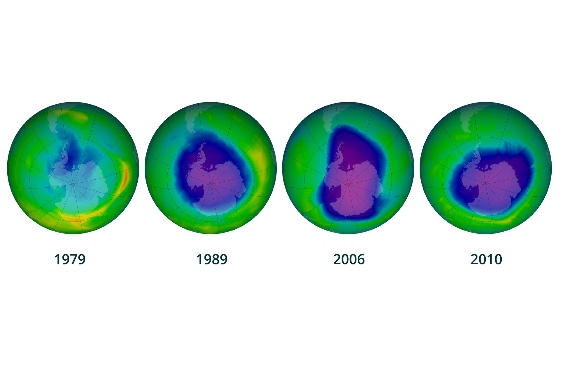Grafika prezentuje proces powstawania ipowiększania się dziury ozonowej nad Antarktyką wlatach od 1979 do 2010. Składa się zczterech rysunków kuli ziemskiej znaniesionym na nią wykresem barwnym, wktórym niebiesko fioletowa plama oznacza dziurę ozonową. Rok 1979, dziura ozonowa bardzo mała iobejmuje niewielki wycinek na styku Antarktydy iAmeryki Południowej. Rok 1989 dziura obejmuje prawie cały kontynent Antarktydę. Rok 2006, dziura rozszerza się na sporą część oceanu Południowego. Rok 2010, niewielkie zmniejszenie dziury iwycofanie zobszaru granicznego zAmeryką Południową, ale rozciągnięcie wkierunku Afryki.