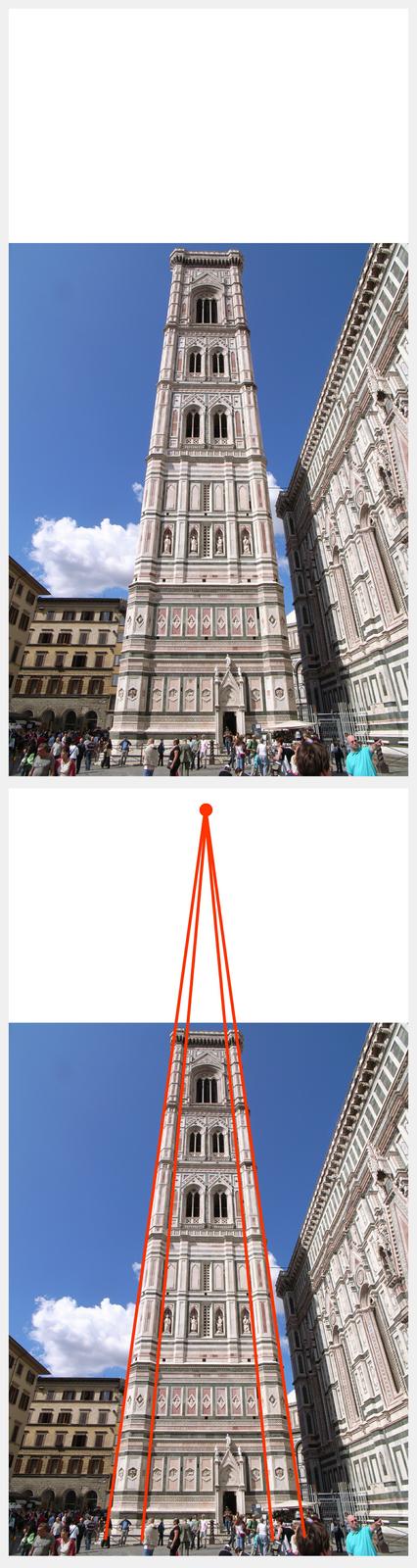 """Ilustracja interaktywna przedstawia fotografię dzwonnicy Giotta ujętą od dołu. Jest to wieża okwadratowej podstawie zgraniastymi wzmocnieniami wnarożnikach. Elewacje zostały obłożone kolorowymi płytami marmuru okolorze białym iróżowym. Od połowy wieży widać trzy kondygnacje strzelistych okien. Wtle niebieskie niebo. Wprawym, dolnym rogu, na niebieskim kwadratowym tle znajduje się litera """"i"""" . Odwrócona ilustracja przedstawia tę samą fotografię znaniesionymi czerwonymi liniami, poprowadzonymi wzdłuż krawędzi dzwonnicy. Linie łączą się ugóry, wpunkcie poza fotografią."""