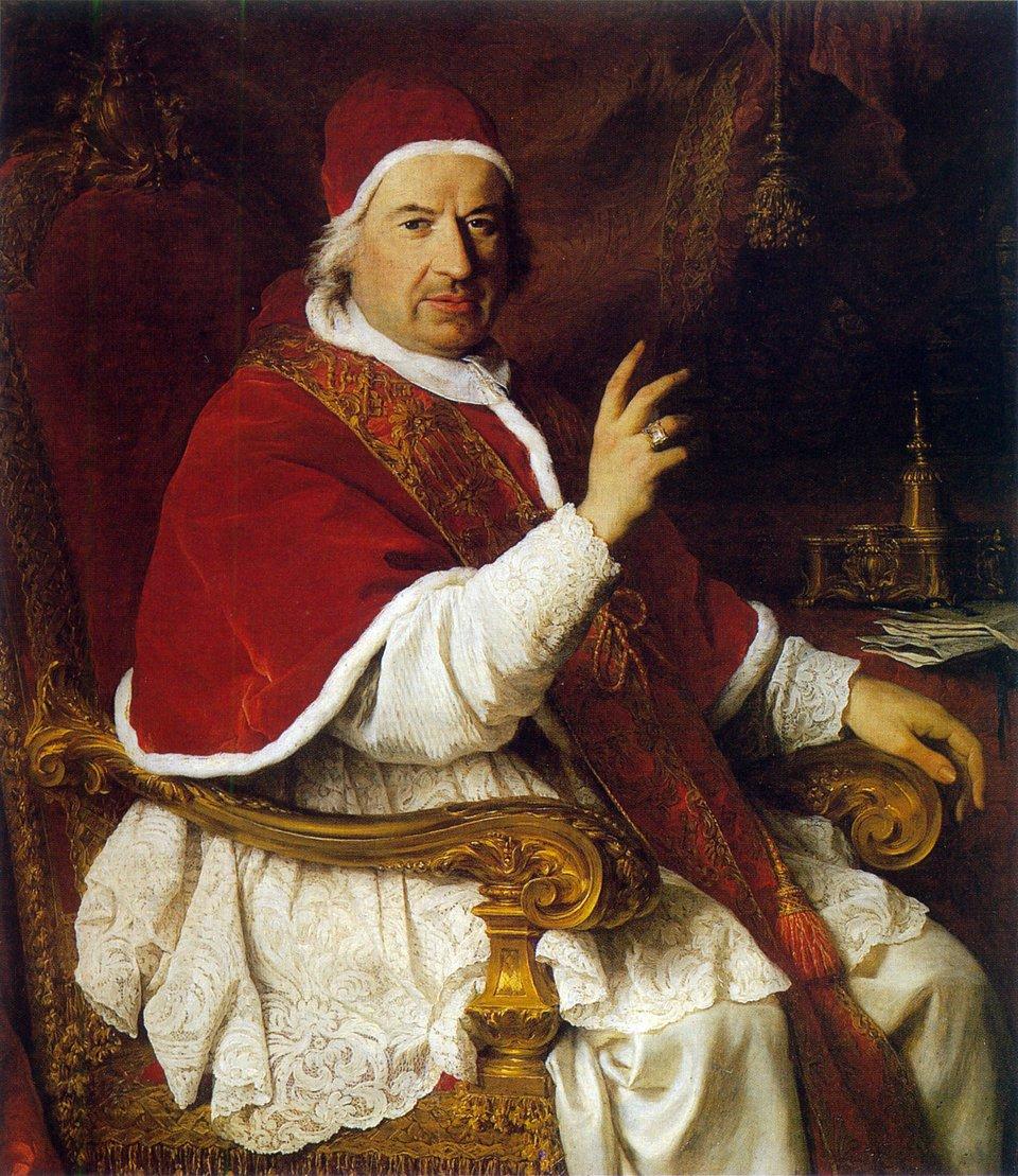 Benedykt XIV, papież wl. 1740-1758 Benedykt XIV, papież wl. 1740-1758 Źródło: Pierre Subleyras, olej na płótnie, Pałac wWersalu, domena publiczna.