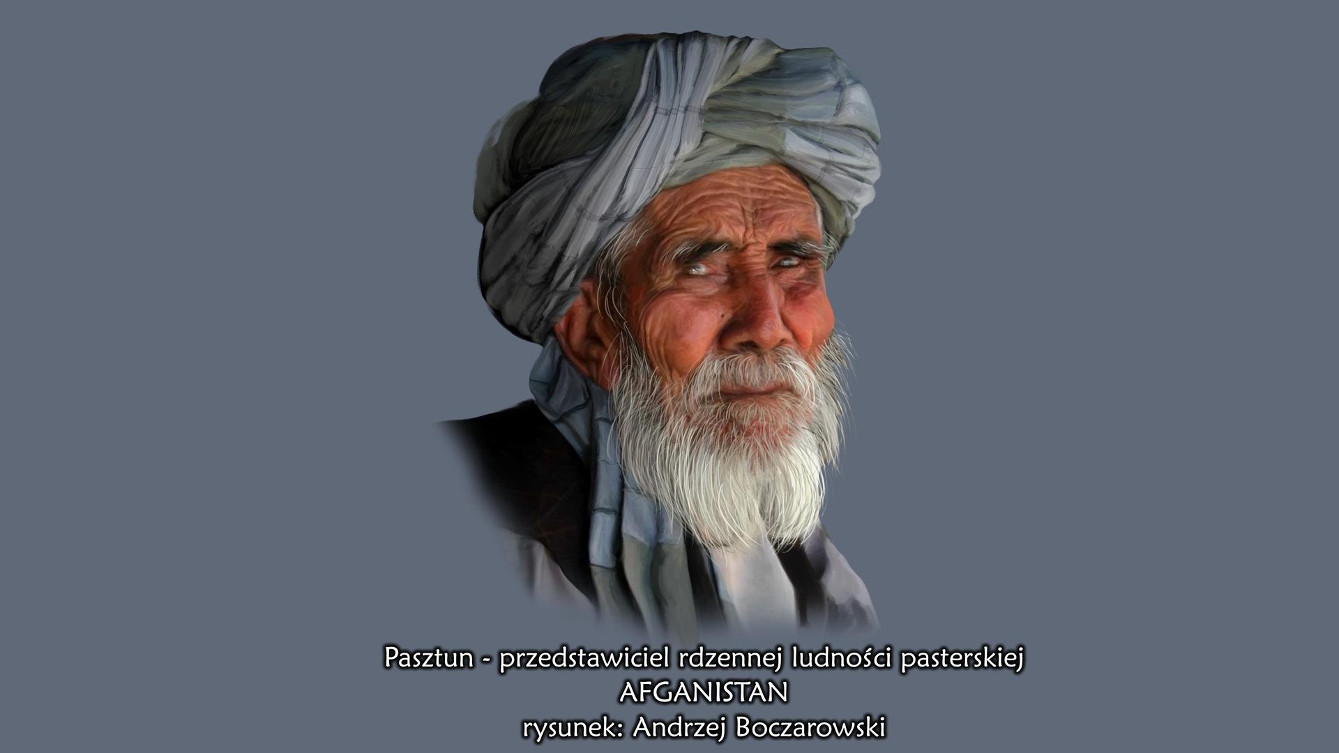 Ilustracja przestawia portret mieszkańca Afganistanu – Pasztuna. Starszy mężczyzna ośniadej cerze, wydatnych kościach policzkowych. Siwa broda iwąsy. Na głowie szary turban.