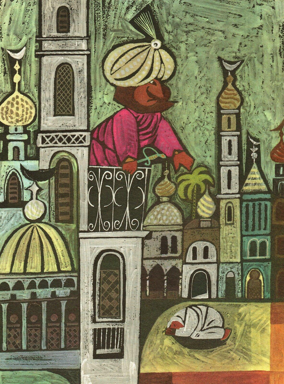 """Ilustracja przedstawia pracę Zbigniewa Rychlickiego zksiążki Ludwika Jerzego Kerna """"Proszę słonia"""". Ukazuje muzułmańskie miasto zpółksiężycami na wieżach budowli zkopułami. Zza budynków wyłania się duży człowiek zturbanem na głowie."""