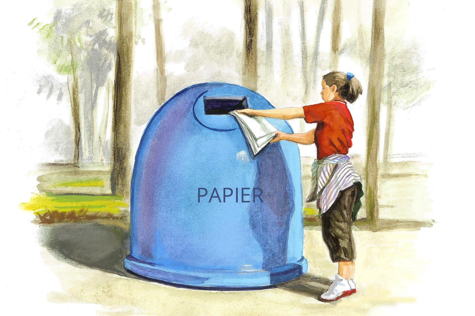 Ilustracja przedstawiająca osobę wrzucającą paier do odpowiedniego pojemnika