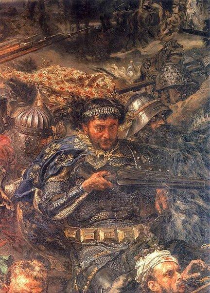 """Fragment obrazu """"Bitwa pod Grunwaldem"""". Tak sobie wyobrażał Zawiszę Czarnego XIX-wieczny malarz Jan Matejko Fragment obrazu """"Bitwa pod Grunwaldem"""". Tak sobie wyobrażał Zawiszę Czarnego XIX-wieczny malarz Jan Matejko Źródło: domena publiczna."""