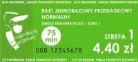 Fotografia przedstawiająca bilet 75-minutowy
