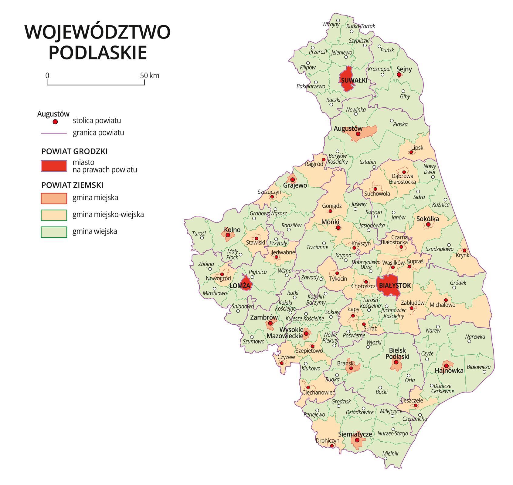 Mapa województwa podlaskiego. Na mapie fioletowymi liniami zaznaczono granice powiatów ziemskich, dużymi czerwonymi kropkami zaznaczono miasta będące stolicami powiatów. Wobrębie powiatów ziemskich kolorami wyróżniono gminy miejskie, miejsko-wiejskie iwiejskie. Czerwonym kolorem wyróżniono powiaty grodzkie zmiastami na prawach powiatu, miasta te opisano dużymi literami. Kolory iznaki użyte na mapie opisano wlegendzie. Wlegendzie podziałka liniowa.