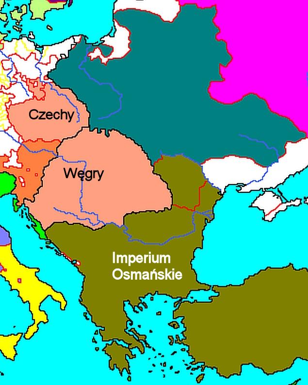Mapa Europy w1525 r. - fragment Na ukazanym fragmencie mapy Europy z1525 roku, czyli zokresu bezpośrednio poprzedzającego najazd turecki, widać zasię terytorialny Imperium Osmańskiego. Źródło: Mapa Europy w1525 r. - fragment, domena publiczna.