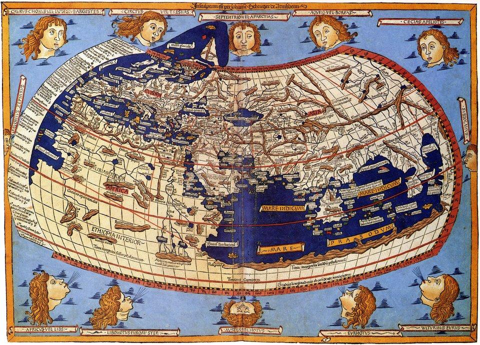 Mapa według pierwowzoru Ptolemeusza Mapa według pierwowzoru Ptolemeusza została przygotowana przezNiemca Johannesa von Armssheim w1482 roku. Europa jest na niej proporcjonalnie większa niż wrzeczywistości. Ocean Atlantycki jest bardzo mały. Autor nie znał jeszcze odkryć Portugalczyków, którzy starali się utrzymywać je wtajemnicy. Ludzie nie zdawali sobie wtedy też sprawy zistnienia Pacyfiku. Źródło: Johannesa von Armssheim, Mapa według pierwowzoru Ptolemeusza, 1482, domena publiczna.