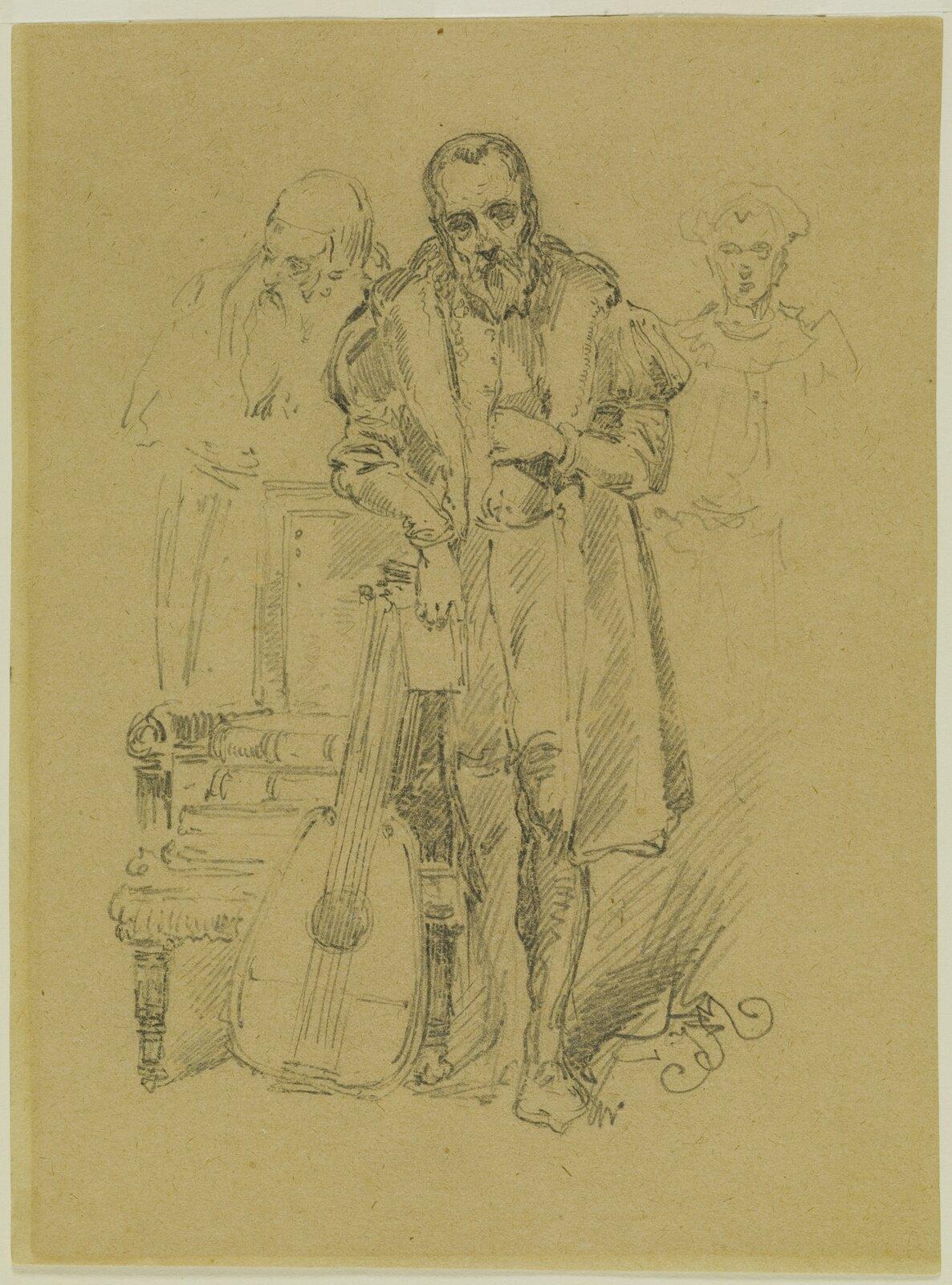 Jan Kochanowski po stracie Urszuli Źródło: Jan Matejko, Jan Kochanowski po stracie Urszuli, ok. 1862, rysunek ołówkiem, domena publiczna.