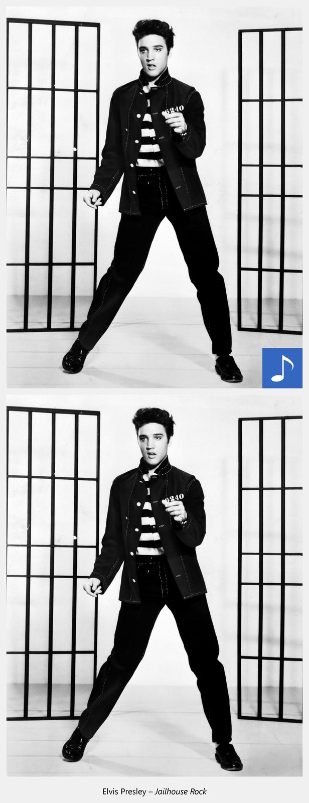 Ilustracja interaktywna przedstawia młodego mężczyznę wciemnym garniturze ibiałej koszuli wczarne paski, stoi na szeroko rozstawionych nogach. Po kliknięciu kursorem myszki zostaje wyświetlona dodatkowa informacja iodtworzony utwór muzyczny. Dodatkowa informacja: Elvis Presley Jailhouse Rock.