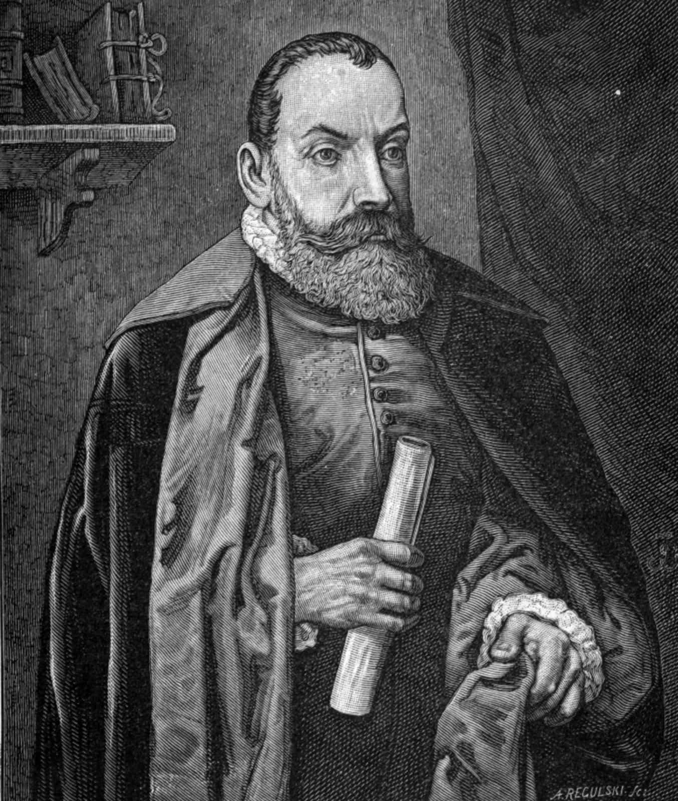 Ilustracja przedstawia czarno-biały portret Jana Kochanowskiego, autorstwa Józefa Buchbindera. Poeta ukazany jest jako dojrzały mężczyzna. Ma pokaźne wąsy ibrodę, wysokie czoło, dość duży prosty nos. Wyraźnie zarysowane oczy patrzą wdal. Ubrany jest wkaftan, na który ma zarzucony płaszcz. Jedną ręką podtrzymuje połę płaszcza, wdrugiej trzyma zwój.