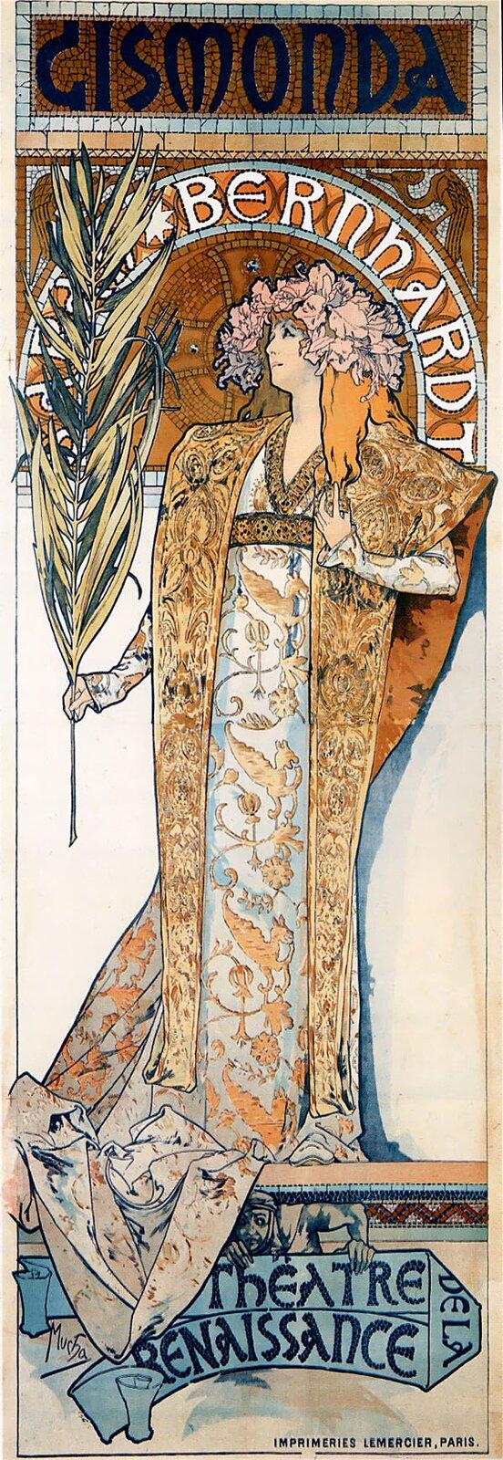 Plakat do sztuki Gismonda Ilustracja 1 Źródło: Alfons Mucha, Plakat do sztuki Gismonda, 1894, litografia barwna, zbiory prywatne, domena publiczna.