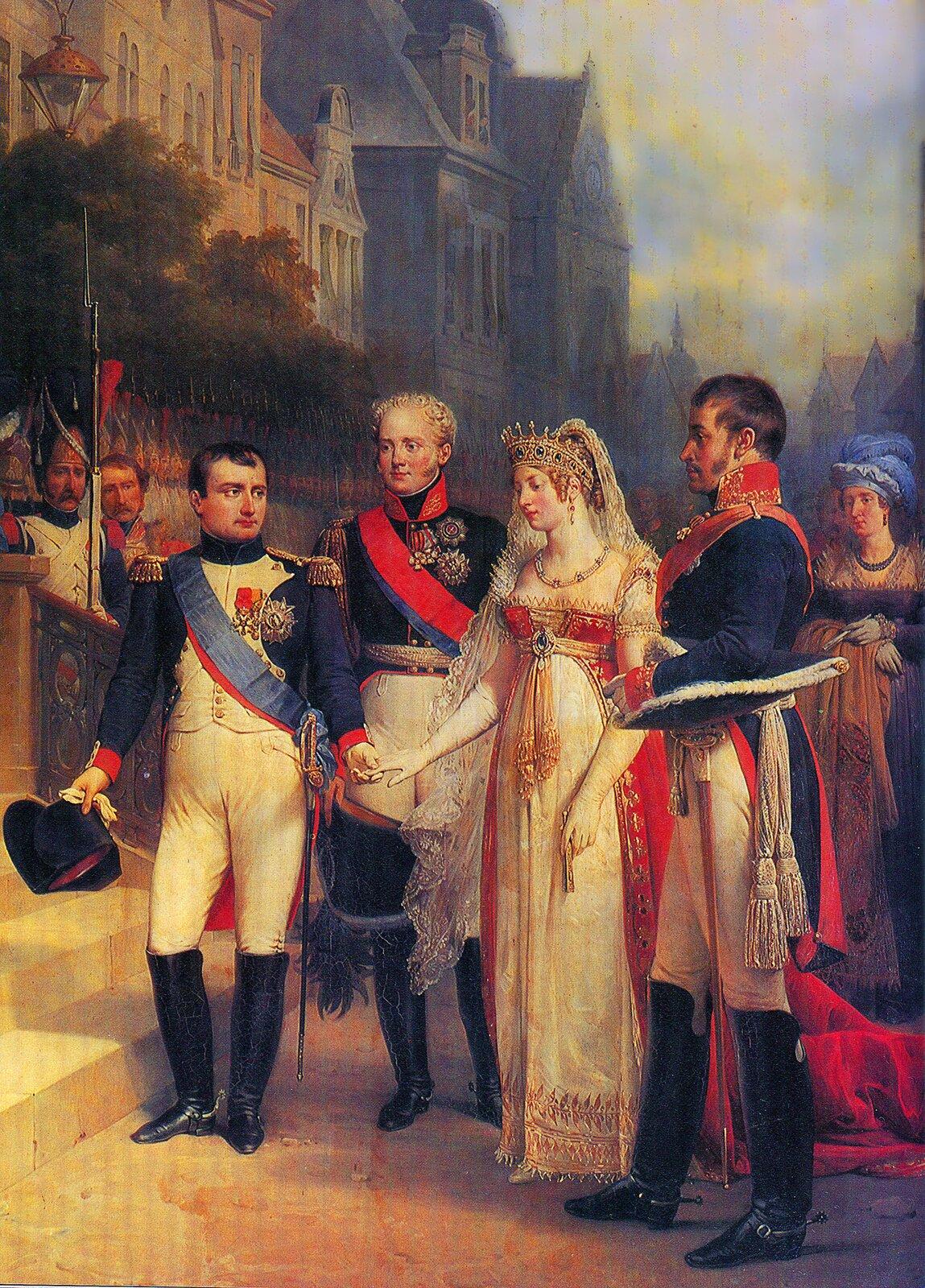 Tylża 1807, fragment obrazu Źródło: Nikolas Gosse, Tylża 1807, fragment obrazu, domena publiczna.