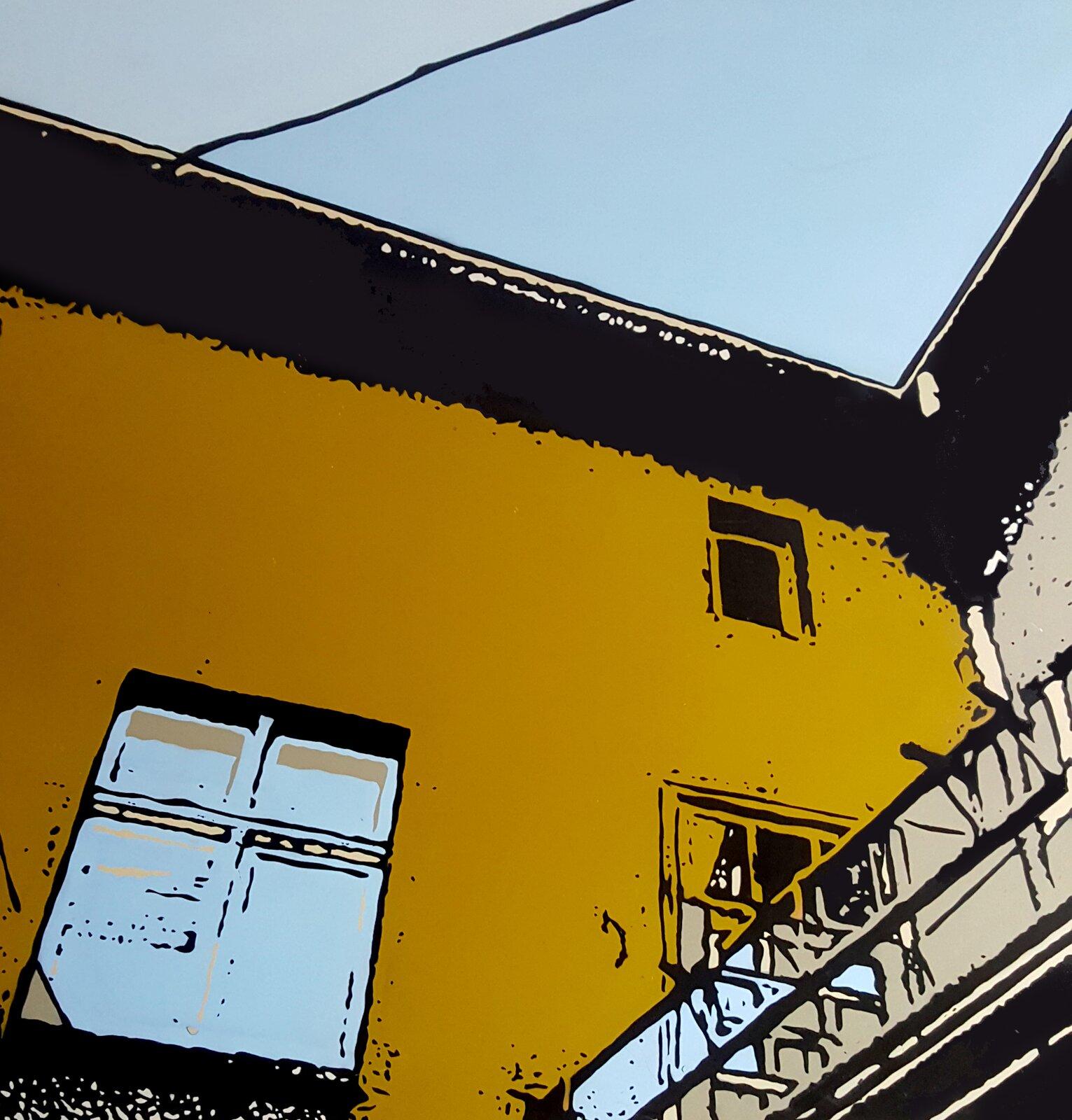 Zdjęcie ukazuje grafikę budynku. Budynek jest wkolorach zółtym oraz pomarańczowym. Budynek ma dwa okna.