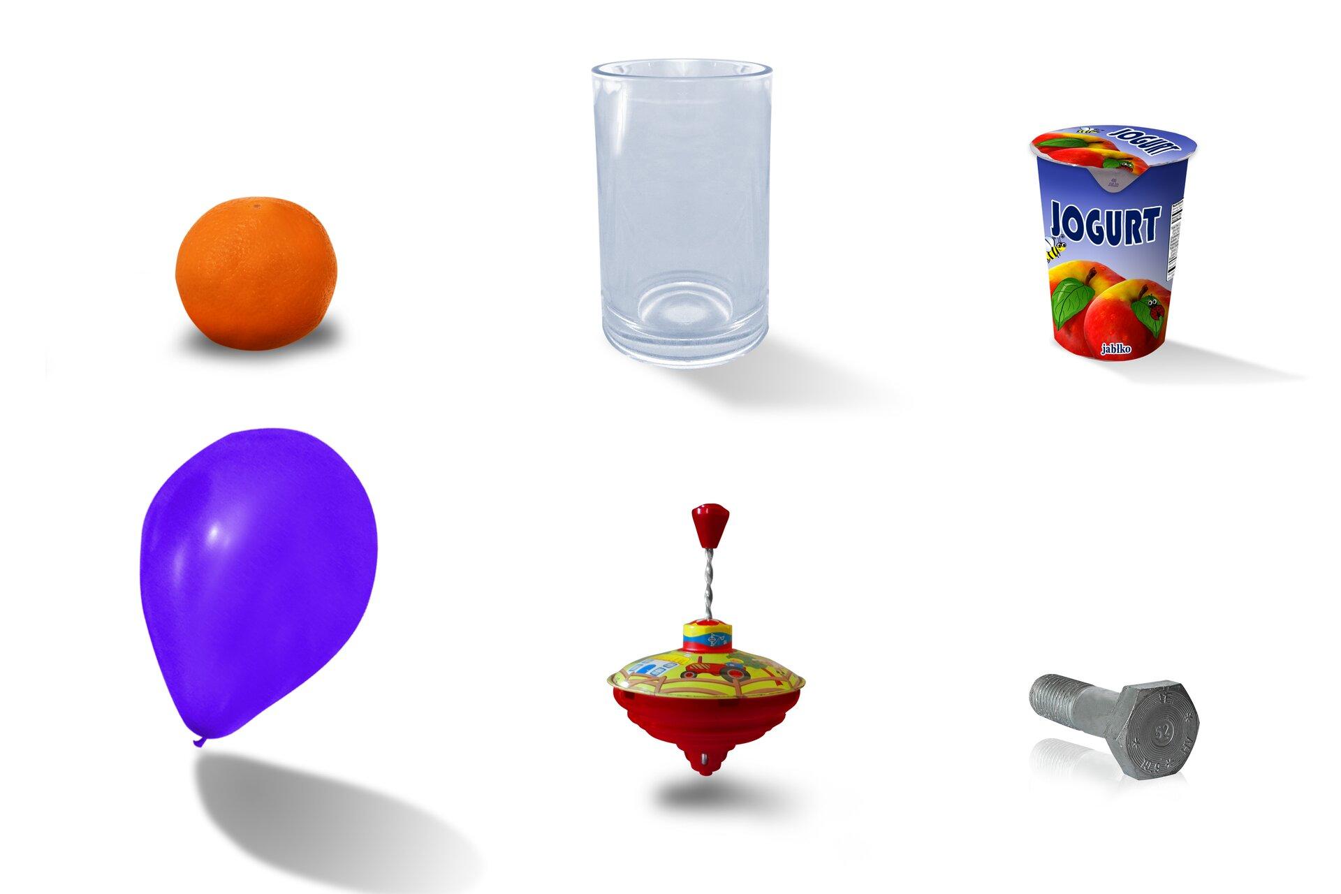 Rysunki: pomarańczy, szklanki, pojemnika zjogurtem, balona, bączka do zabawy, śruby.