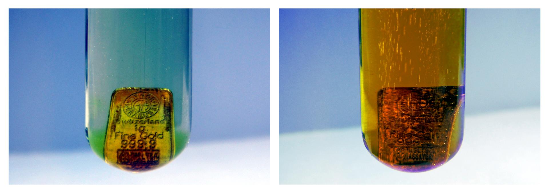 Ilustracja składa się zdwóch zdjęć przedstawiających probówkę zwodą królewską oraz znajdującą się wewnątrz miniaturową złotą sztabką. Na zdjęciu po lewej stronie stan wkrótce po wrzuceniu, ciecz względnie klarowna, ale na złocie widoczne pierwsze ślady działania kwasów. Po prawej stronie stan po pewnym czasie, płyn ma barwę żółtobrązową, oznaczenia na sztabce niemożliwe do odczytania. Widoczne są też pęcherzyki gazu powstającego wtrakcie reakcji.