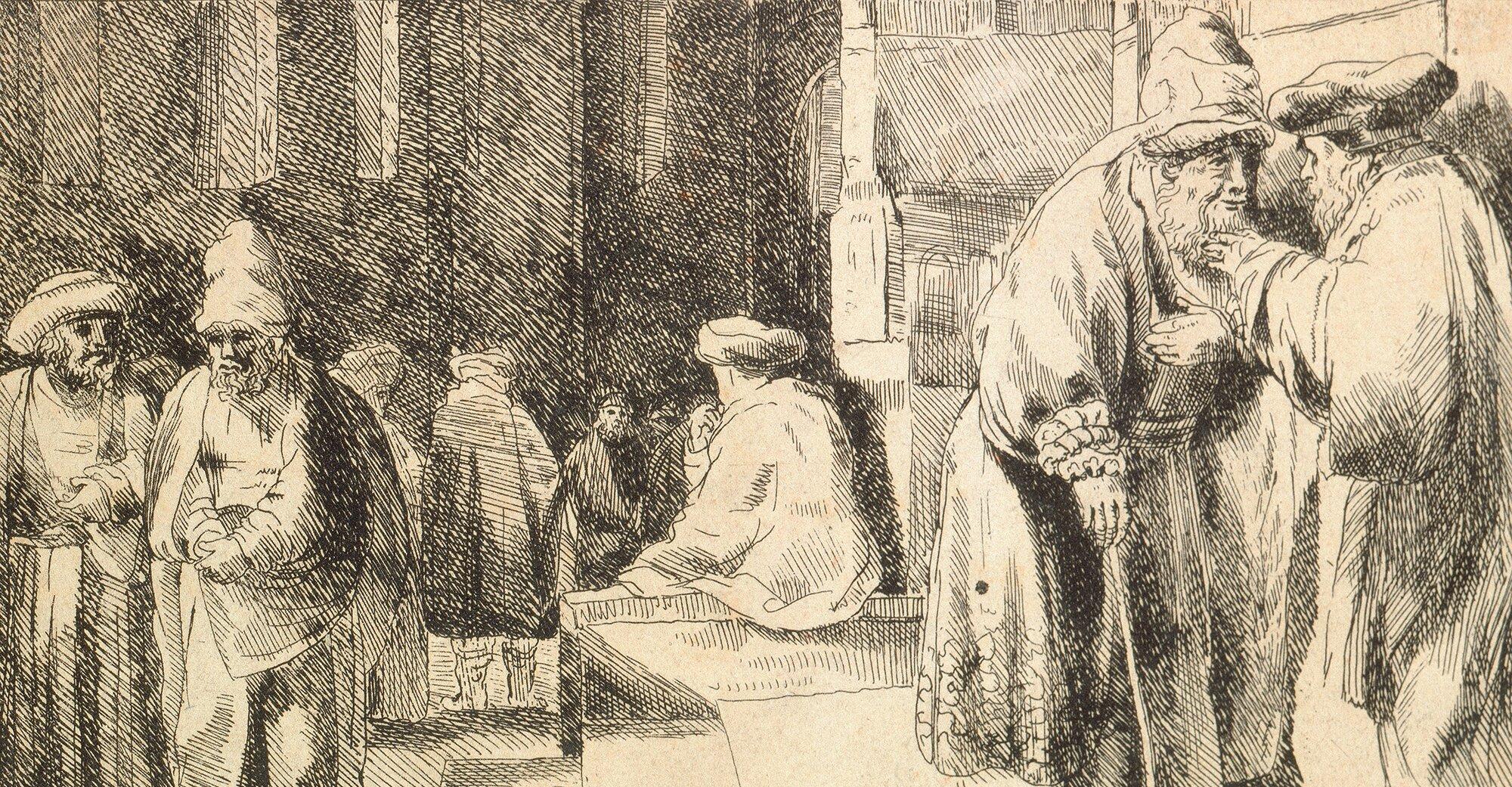 Żydzi wsynagodze Źródło: Rembrandt, Żydzi wsynagodze, 1648, domena publiczna.