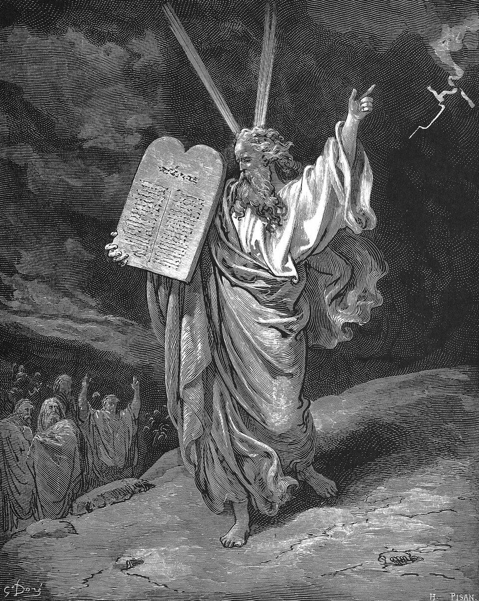 Mojżesz schodzi zgóry Synaj Źródło: Gustave Doré, Mojżesz schodzi zgóry Synaj, 1866, drzeworyt, domena publiczna.