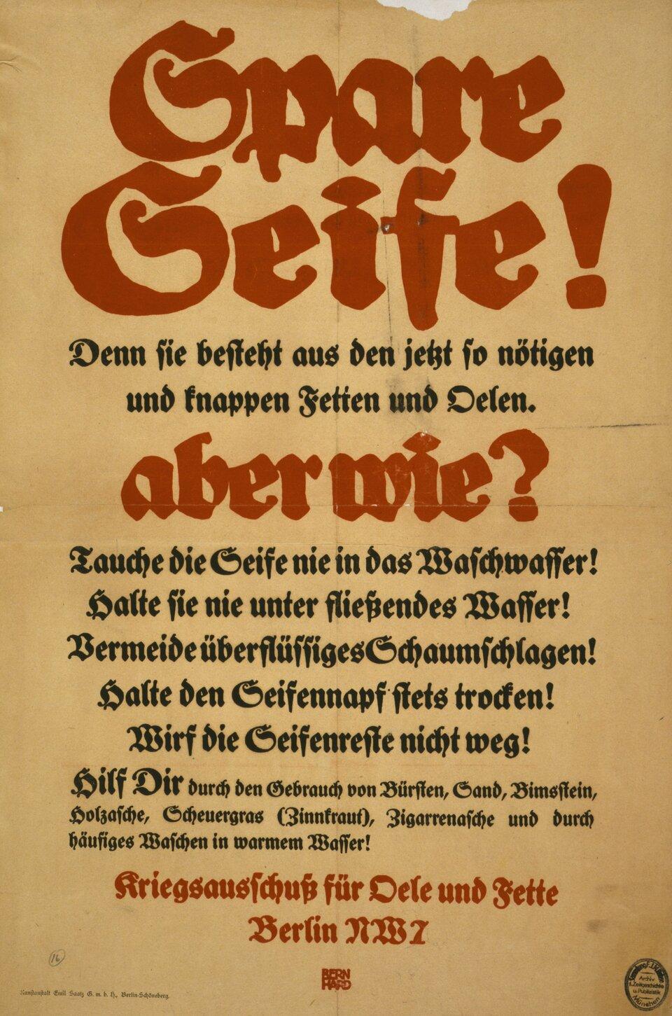 plakat niemiecki nawołujący do oszczędzania mydła ioleju