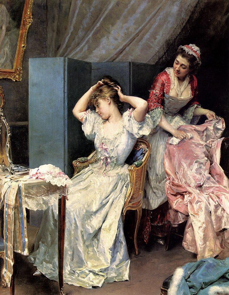 Toaleta Źródło: Raimundo de Madrazo yGarreta, Toaleta, 1890-1900, olej na płótnie, domena publiczna.