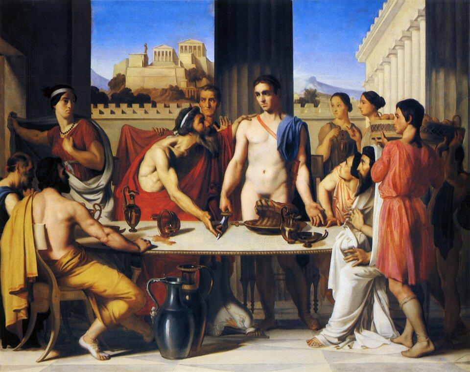 Tezeusz zostaje rozpoznany przez ojca Źródło: Hippolyte Flandrin, Tezeusz zostaje rozpoznany przez ojca, 1832, olej na płótnie, École nationale supérieure des Beaux-Arts, Paryż, domena publiczna.