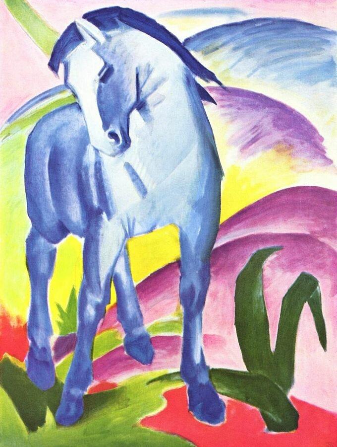 Niebieski koń Źródło: Franz Marc (1880–1916; czyt.: franc mark – niemiecki malarz), Niebieski koń, 1911, Muzeum Lenbachhaus, Monachium, domena publiczna.