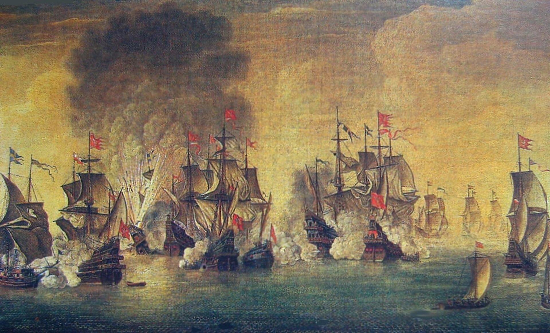 """Ilustracja ukazuje obraz Stefana Płużańskiego """"Bitwa pod Oliwą"""" z1847 roku. Przedstawia walkę morską wzatoce. Nad statkami unosi się dym zdział oraz dramatycznego pożaru na okręcie. Kolorystyka jest ciemna. Morze jest zielone, odbija się wnim złotawe niebo. We mgle na dalekim planie nikną płynące statki. Linia horyzontu zlewa się zniebem."""