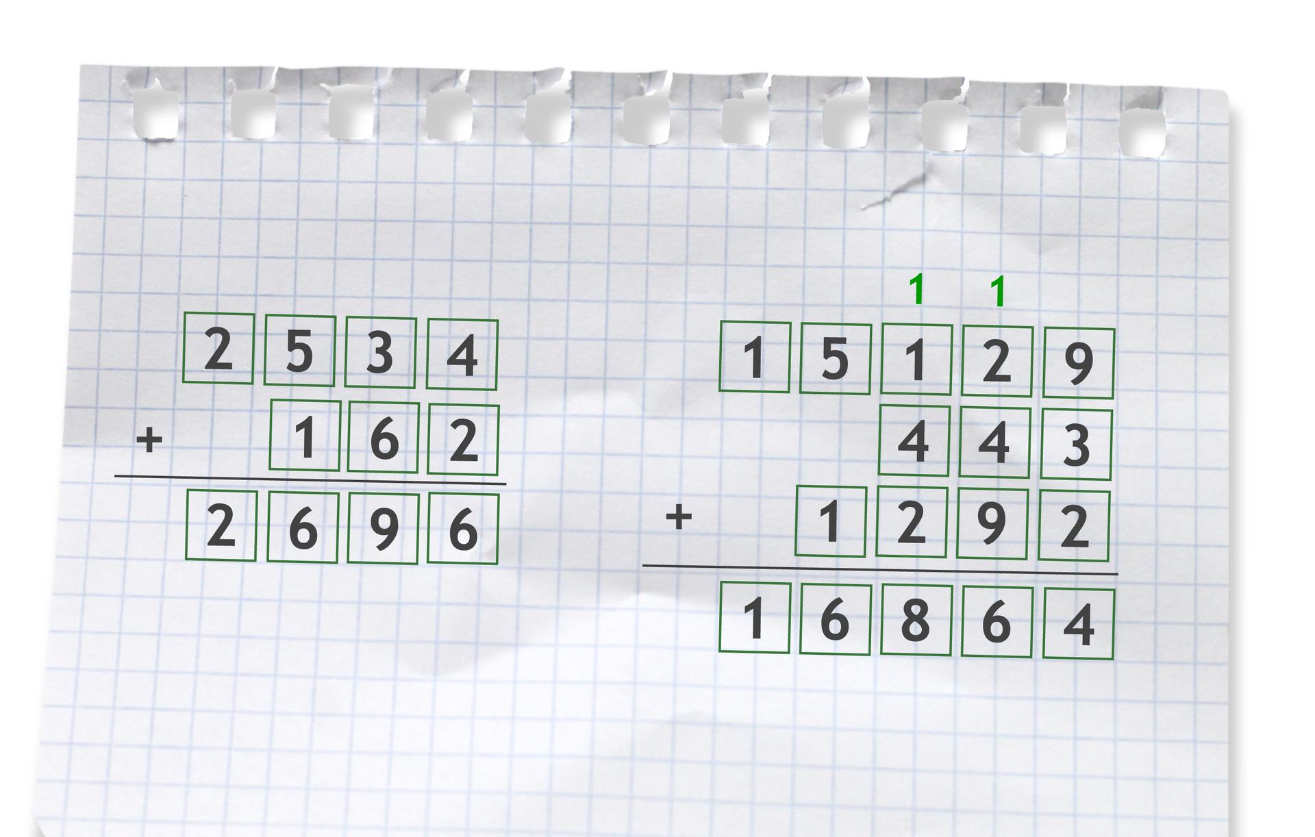 Przykłady dwóch działań pisemnych: pierwszy: 2534 +162 = 2696, drugi: 15129 +443 +1292 =16864.