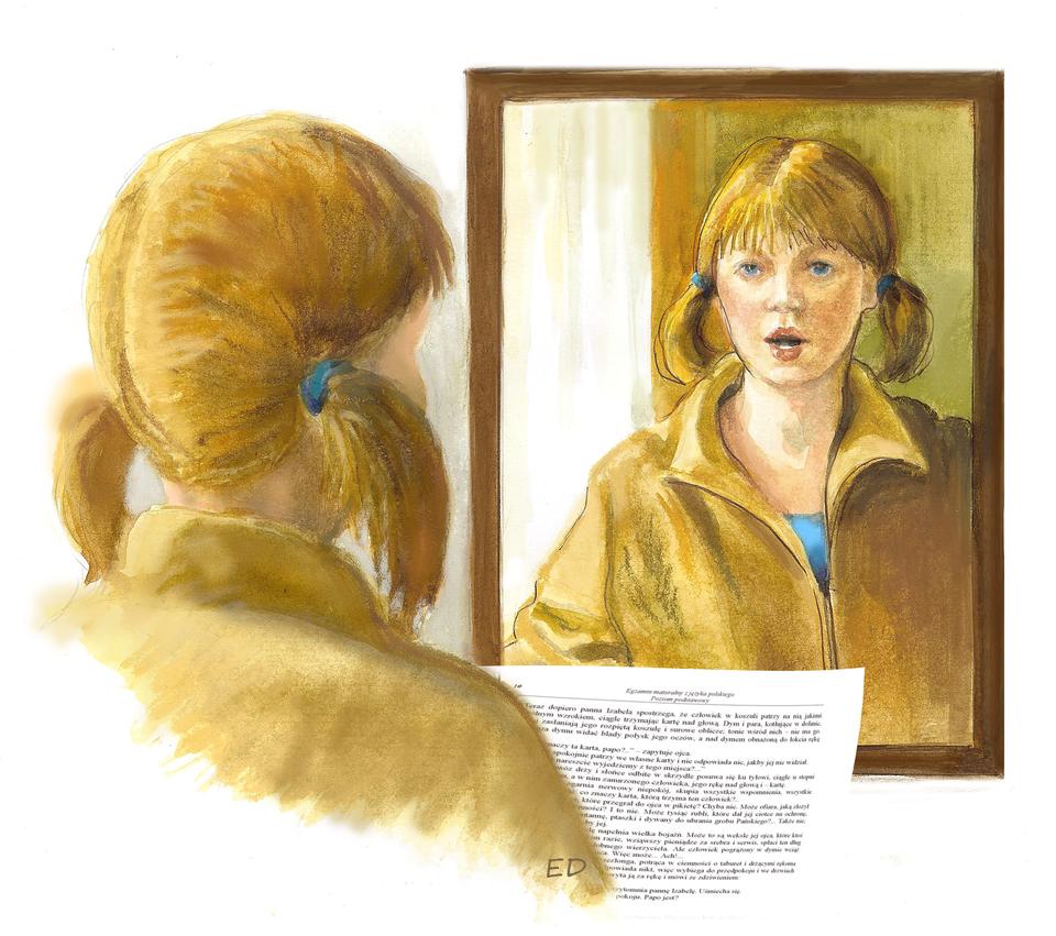 Ilustracja przedstawiająca dziewczynkę ćwiczącą przed lustrem swoje wystąpienie