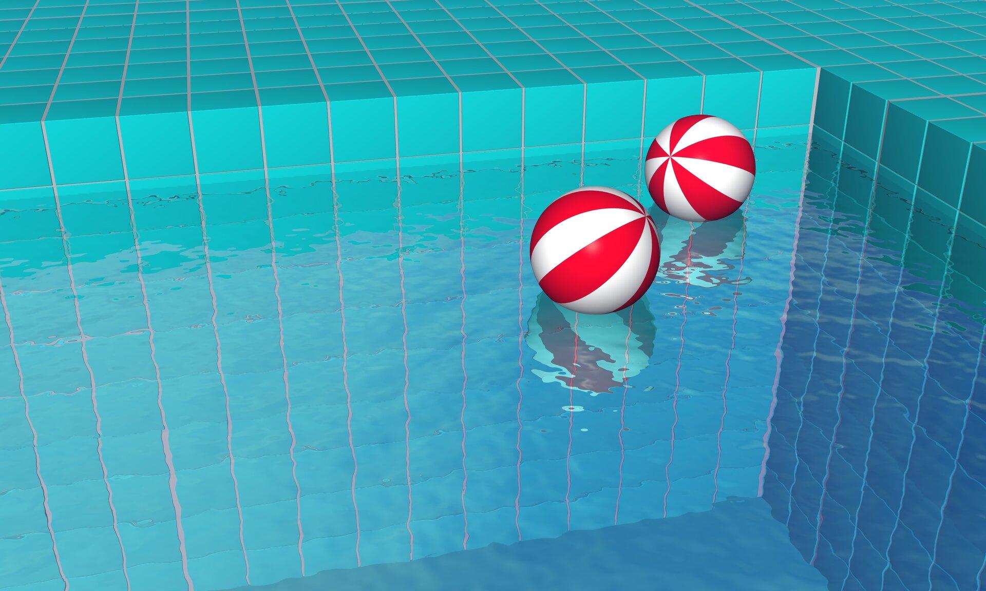 Na ilustracji przedstawiono fragment basenu. Na powierzchni wody unoszą się dwie dmuchane, czerwono-białe piłki.