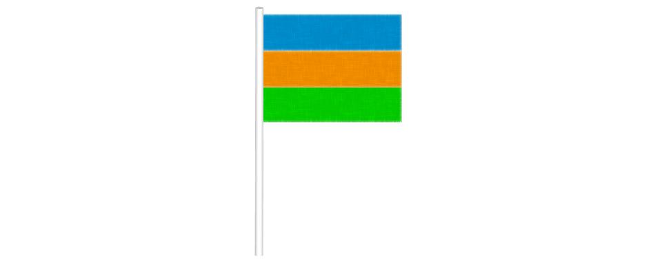 Rysunek flagi złożonej ztrzech poziomo ułożonych pasów. Pas górny – kolor niebieski, pas środkowy – kolor brązowy. Pas dolny – kolor zielony.
