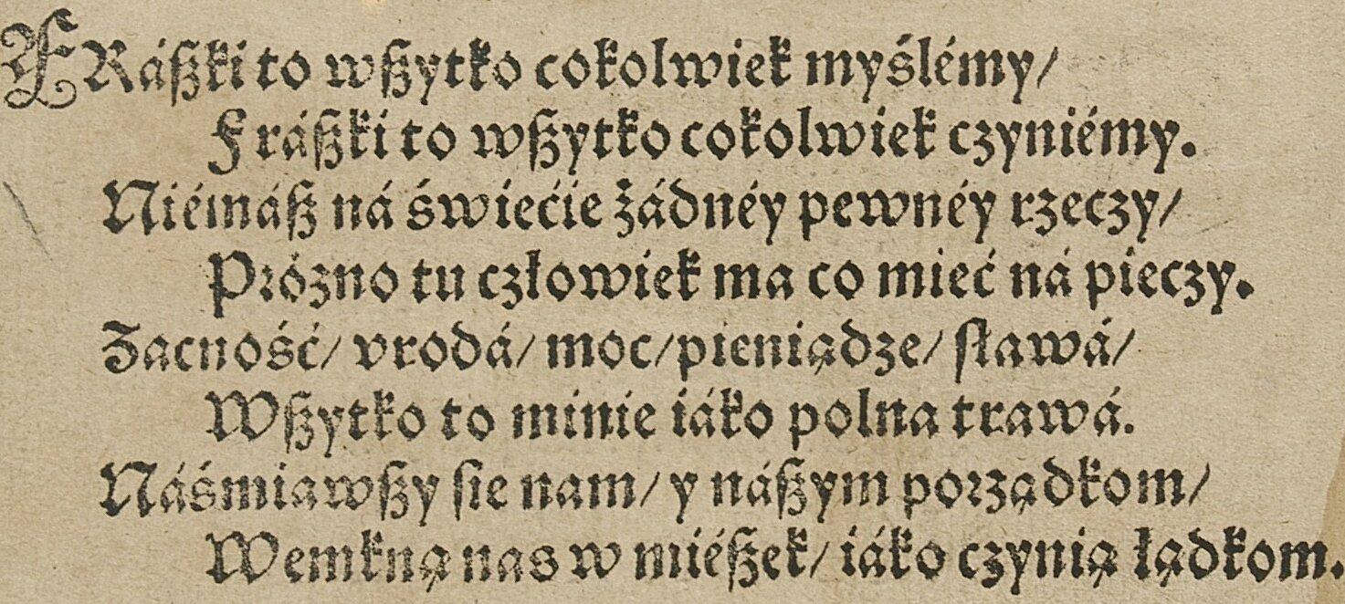 Ożywocie ludzkim (pierwodruk) Źródło: Jan Kochanowski, Ożywocie ludzkim (pierwodruk), 1584, domena publiczna.