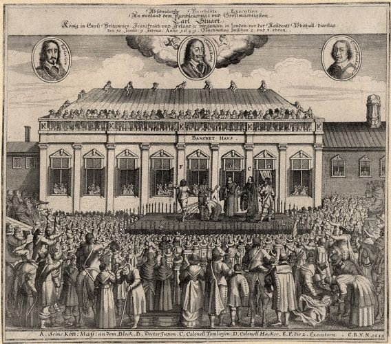 """Współczesnawydarzeniom grafika przedstawiająca scenę ścięcia Karola IStuarta w1649 r. wLondynie przed tzw. """"Banqueting Hause"""" wWhitehall. Współczesnawydarzeniom grafika przedstawiająca scenę ścięcia Karola IStuarta w1649 r. wLondynie przed tzw. """"Banqueting Hause"""" wWhitehall. Źródło: 1649, domena publiczna."""