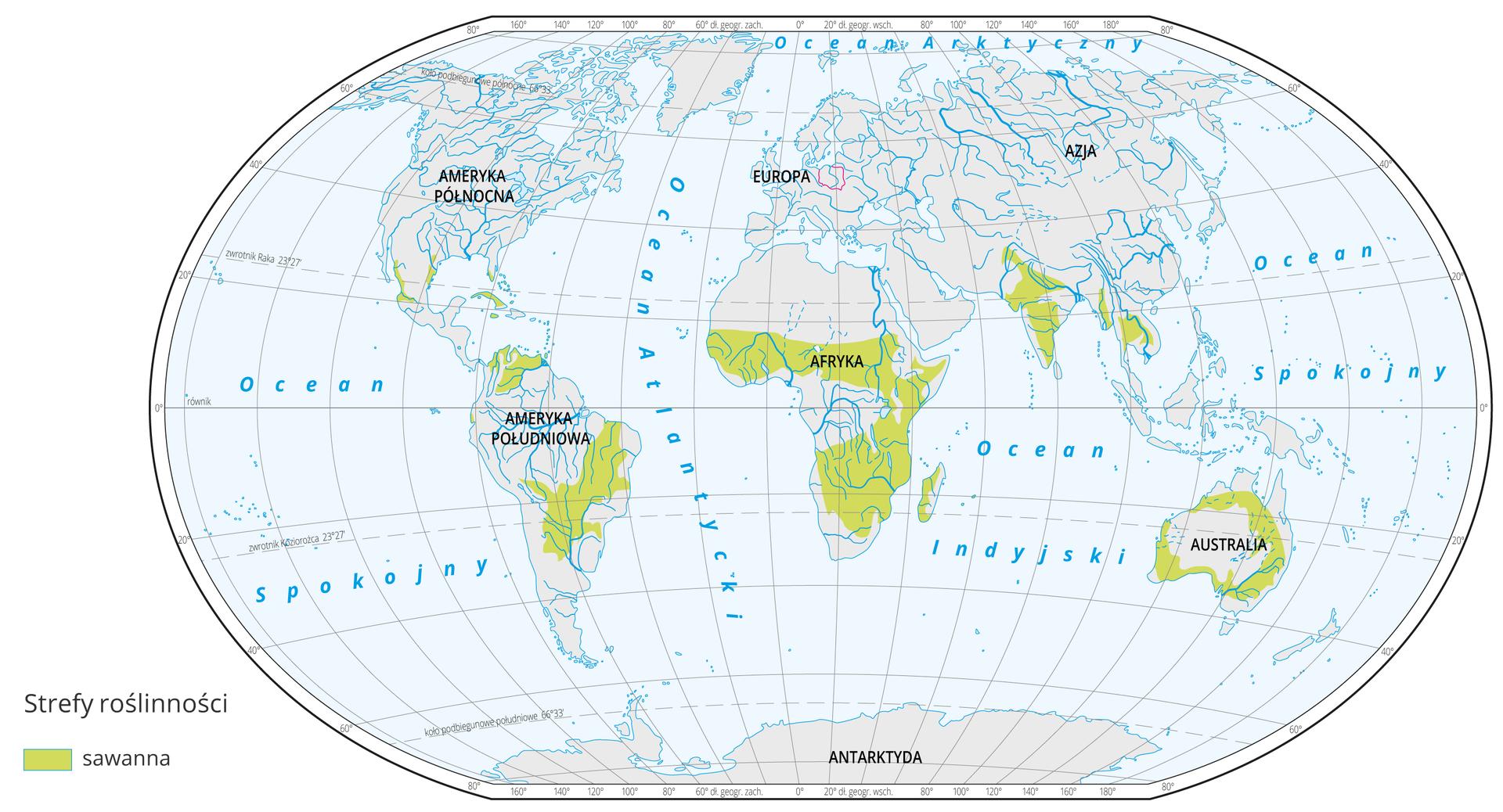Mapa świata prezentuje występowanie sawanny na Ziemi. Sawannę oznaczono kolorem zielonym na mapie. Sawanna występują w: Afryce na północ ina południe od lasów równikowych. Ameryce Południowej na północ ipołudnie od Amazonii, Ameryce północnej na pograniczu Meksyku ipołudniowych krańcach USA, środkowych Indiach ipółnocno-wschodniej Australii.