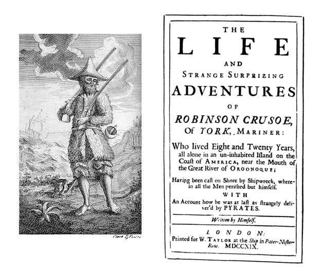Karta tytułowa pierwszego wydania Przypadków Robinsona Crusoe (a właściwie: Życia izdumiewających przygód Robinsona Crusoe) z1719 roku Karta tytułowa pierwszego wydania Przypadków Robinsona Crusoe (a właściwie: Życia izdumiewających przygód Robinsona Crusoe) z1719 roku Źródło: domena publiczna.