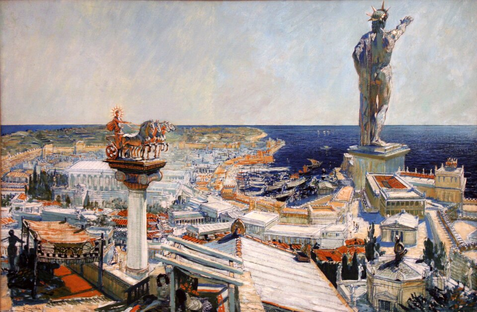 Na ilustracji namalowano widok na starożytne miasto portowe, zprawej strony rzeźba kolosa – boga Heliosa wpostawie wyprostowanej, zwyciągniętą ku przodowi prawą ręką, głowę jego zdobi promienista korona (królewski diadem). Stoi na postumencie uwejścia do portu.