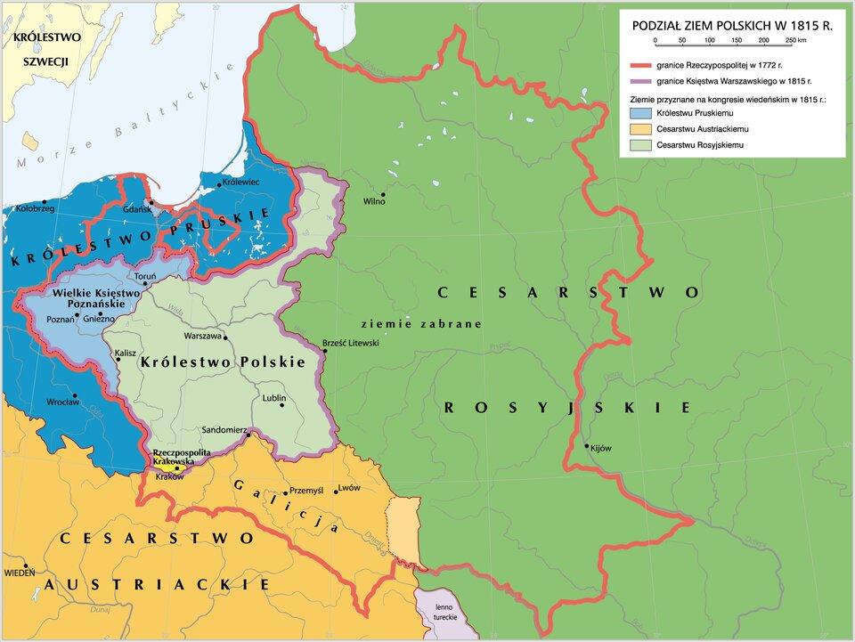 mapaPodział ziem polskich w1815 r.