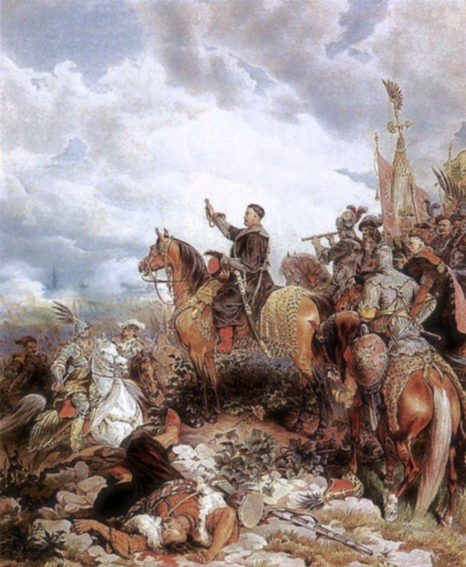Sobieski błogosławiący polską szarżę na Turków wbitwie pod Wiedniem.