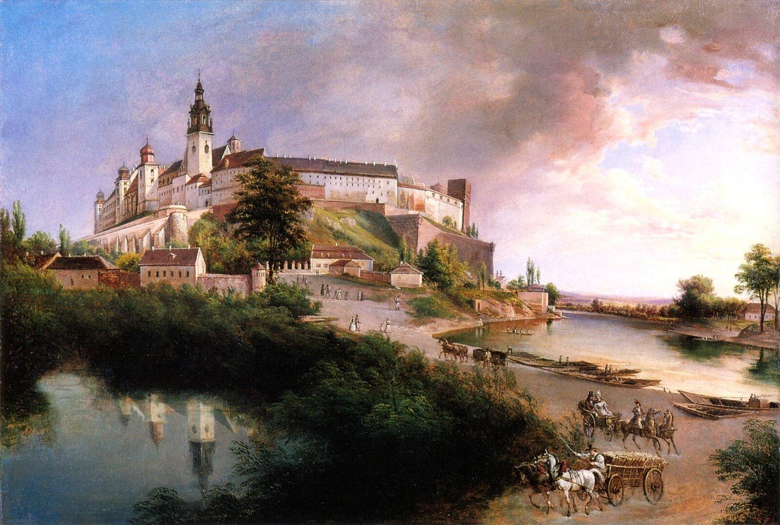 Widok na Wawel Źródło: Jan Nepomucen Głowacki, Widok na Wawel, ok. 1847, olej na papierze, domena publiczna.