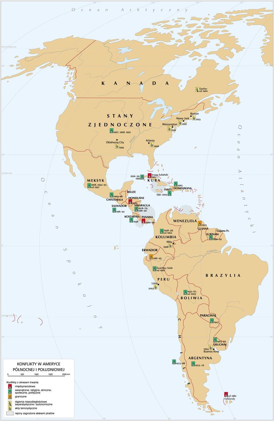 mapa -Konflikty wAmeryce