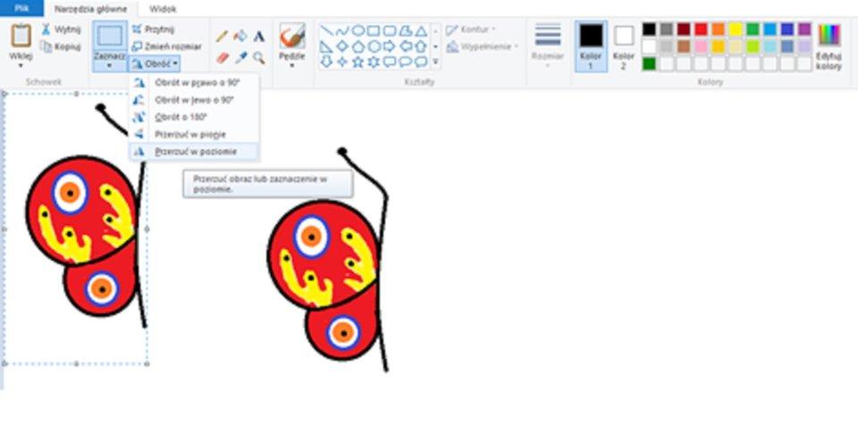 Zrzut okna programu Paint ilustrujący wykorzystanie narzędzi kopiuj oraz wklej