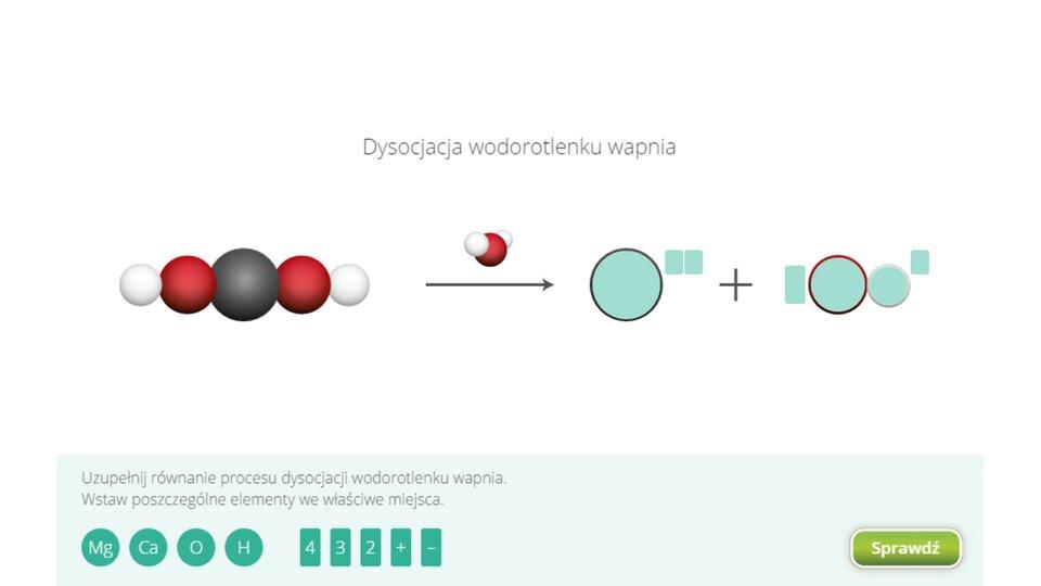 Aplikacja interaktywna wformie układanki. Wgórnej części znajduje się napis Dysocjacja wodorotlenku wapnia Wcentralnej części okna znajduje się równanie rozkładu na jony pod wpływem wody, wktórym związek początkowy oraz umieszczona nad symbolem strzałki równania woda zapisane są wpostaci modeli. Rozbijany związek składa się zpięciu atomów: jednego wsamym środku cząsteczki, dwóch po lewej idwóch identycznych po prawej. Prawa strona równania jest pusta, znajduje się tam miejsca na dwa jony. Pierwszy jon zawiera jeden atom, agórny indeks opisujący jego ładunek jest dwuznakowy. Drugi jon zawiera dwa atomy, jego górny indeks opisujący ładunek jest jednoznakowy, aprzed miejscem na symbole atomów znajduje się miejsce na cyfrowy indeks liczby jonów będących rezultatem reakcji. Wdolnej części okna aplikacji na tle zielonkawego prostokąta znajdują się koła zsymbolami atomów oraz prostokąty zcyframi oraz znakami plus iminus. Symbole atomów to, licząc od lewej: Mg, Ca, Ooraz H. Następujące po nich prostokąty oznaczone są cyframi: cztery, trzy, dwa oraz znakami plus oraz minus. Zadaniem użytkownika jest uzupełnienie właściwymi elementami zapisu reakcji poprzez wybranie odpowiednich iprzeciągnięcie ich wprzeznaczone dla nich miejsce. Weryfikacji ustawień dokonuje się naciskając przycisk Sprawdź wprawym dolnym rogu okna.