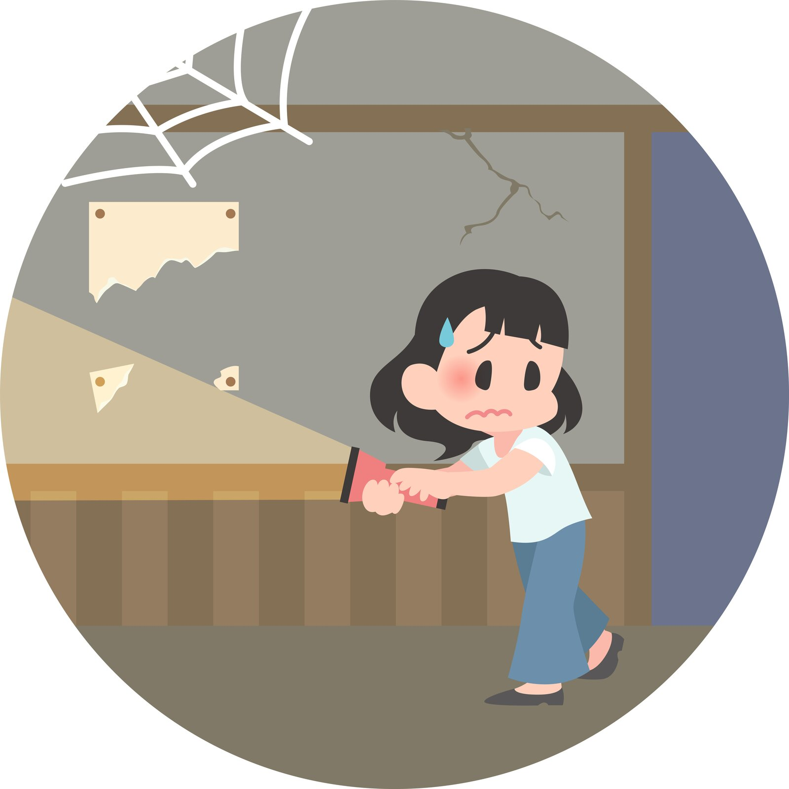 Ilustracja wektorowa przedstawiająca młodą azjatkę, która znajduje się wopuszczonym pomieszczeniu. Na jej twarzy widać niepewność istrach.