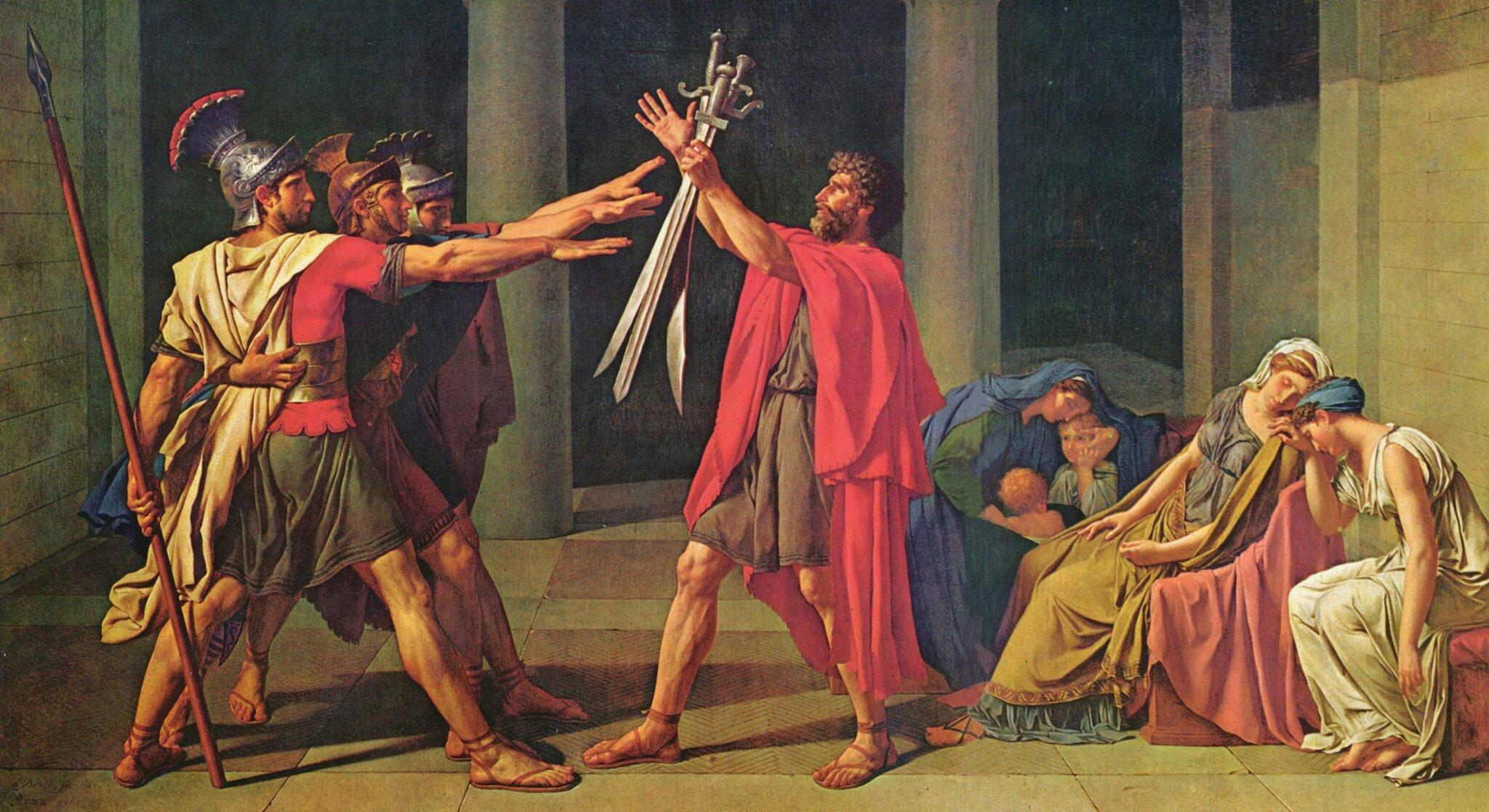 Przysięga Horacjuszy Źródło: Jacques-Louis David, Przysięga Horacjuszy, 1784, olej na pótnie, Luwr, domena publiczna.